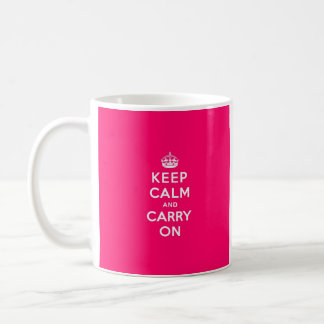 Hot Pink Keep Calm and Carry On Basic White Mug