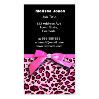 Hot pink leopard print ribbon bow graphic pack of standard business cards