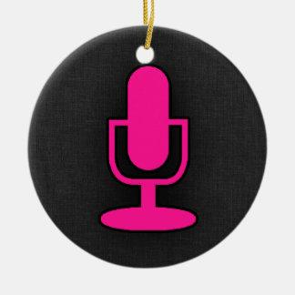 Hot Pink Microphone Round Ceramic Decoration