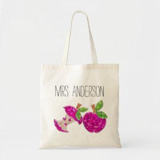 Hot Pink Neon Green Teachers Apple Classroom Tote Budget Tote Bag