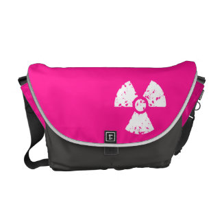 Hot Pink Radioactive sign Messenger Bags