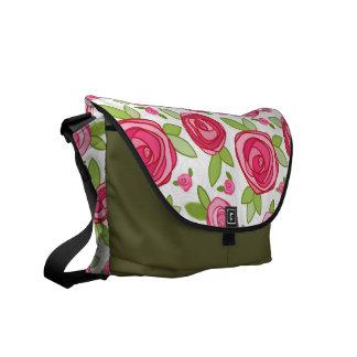 Hot Pink Rose Pattern Messenger Bag