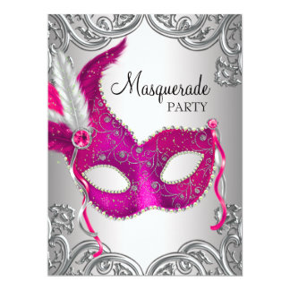 Hot Pink Silver Mask Masquerade Ball Party 17 Cm X 22 Cm Invitation Card