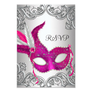Hot Pink Silver Mask Masquerade Party RSVP 9 Cm X 13 Cm Invitation Card