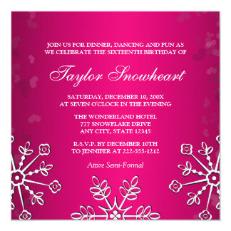 HOT PINK SNOWFLAKE SWEET SIXTEEN BIRTHDAY 13 CM X 13 CM SQUARE INVITATION CARD