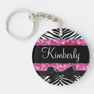 Hot Pink Sparkle Zebra Girly Girl's Single-Sided Round Acrylic Key Ring