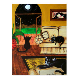 House of Cats Full Moon Postcard
