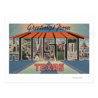 Houston, Texas - Large Letter Scenes Postcard