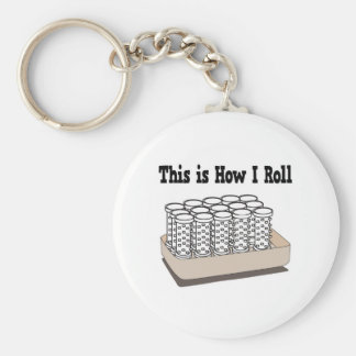 How I Roll Hair Curlers Basic Round Button Key Ring