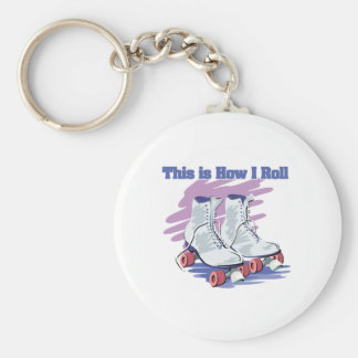 How I Roll (Roller Skates) Basic Round Button Key Ring