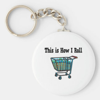 How I Roll Shopping Cart Basic Round Button Key Ring