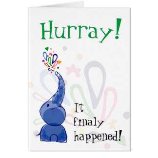 """""""Hurray"""" card with blue baby elephant"""
