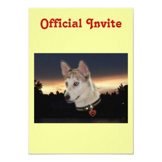 Husky Dog Sunset 13 Cm X 18 Cm Invitation Card