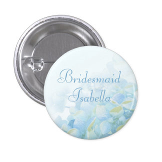 Hydrangea floral blue green wedding pin / button