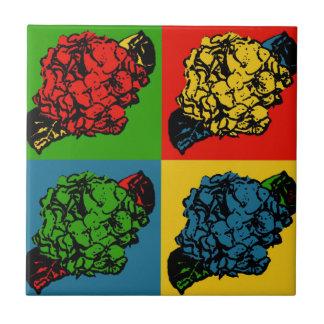 Hydrangea Pop Art Small Square Tile
