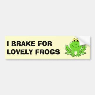 I Brake for Lovely Frogs Bumper Sticker