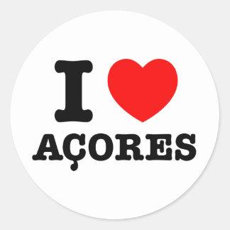 I heart Acores Round Sticker