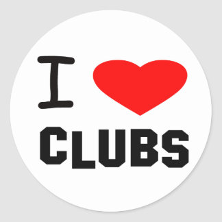 I Heart Clubs Round Sticker