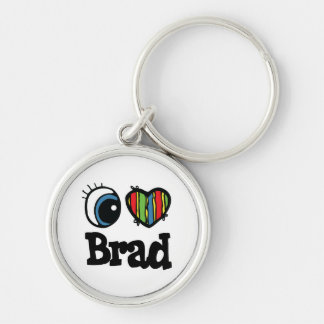 I Heart (Love) Brad Silver-Colored Round Key Ring