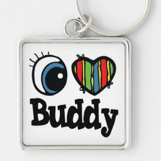 I Heart (Love) Buddy Silver-Colored Square Key Ring