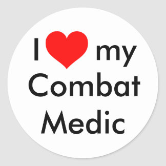 I heart my combat medic! round sticker