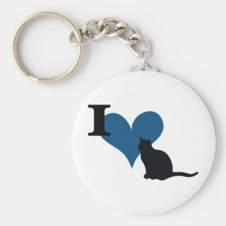 I Heart Pussy Cat Basic Round Button Key Ring