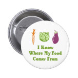 I Know Where My Food Comes From 6 Cm Round Badge