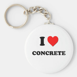 I love Concrete Basic Round Button Key Ring