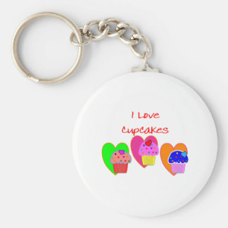 """I Love Cupcakes""--Cupcake lovers gifts Basic Round Button Key Ring"