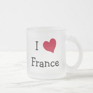 I Love France Frosted Glass Mug