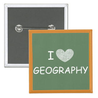 I Love Geography 15 Cm Square Badge