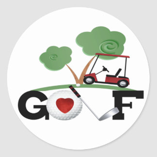 I Love Golf Round Sticker