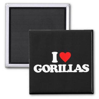 I LOVE GORILLAS SQUARE MAGNET