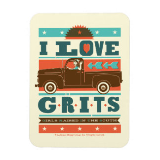I Love Grits Rectangular Photo Magnet