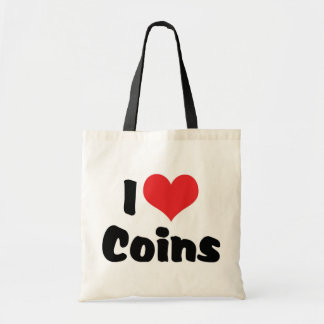 I Love Heart Coins - Coin Collector Budget Tote Bag