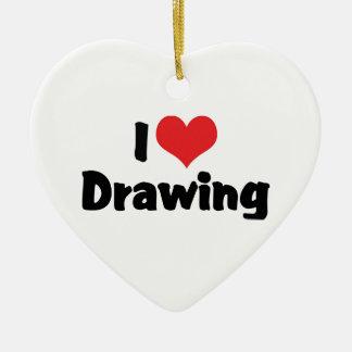 I Love Heart Drawing - Artists & Illustrator Ceramic Heart Decoration