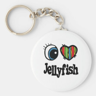 I Love (Heart) Jellyfish Basic Round Button Key Ring