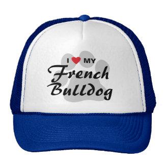 I Love (Heart) My French Bulldog Pawprint Cap