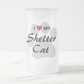 I Love (Heart) My Shelter Cat Frosted Glass Mug