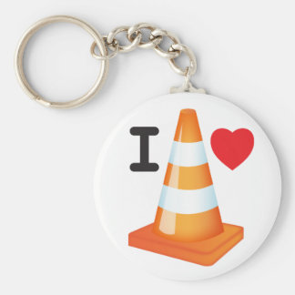 I Love Heart Traffic Cones Road Markers Roadworks Basic Round Button Key Ring