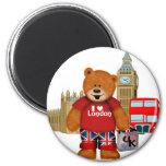 I Love London -Teddy Bear 6 Cm Round Magnet