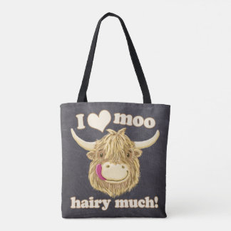 I Love Moo Hairy Much! Scottish Highland Cow Tote Bag