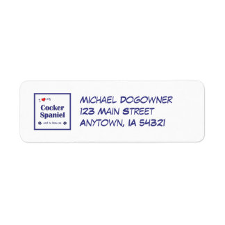 I Love My Cocker Spaniel (Male Dog) Return Address Label
