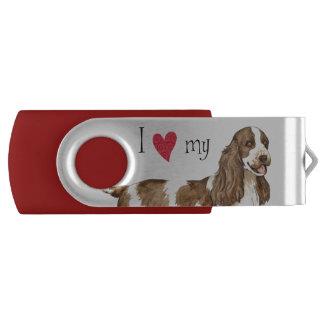 I Love my English Cocker Spaniel Swivel USB 3.0 Flash Drive