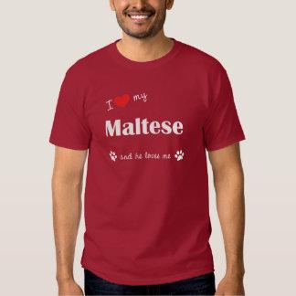 I Love My Maltese (Male Dog) Tee Shirt
