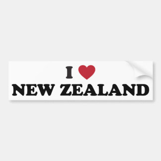I Love New Zealand Bumper Sticker