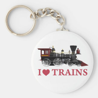 I Love Trains Basic Round Button Key Ring