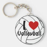 I Love Volleyball Basic Round Button Key Ring