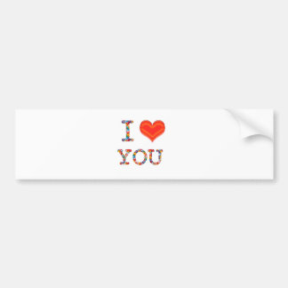 I LOVE YOU : Elegant Script of Love n Romance GIFT Bumper Sticker