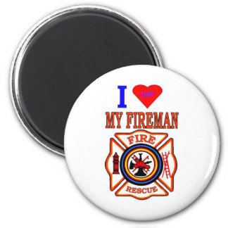 I LUY MY FIREMAN 6 CM ROUND MAGNET